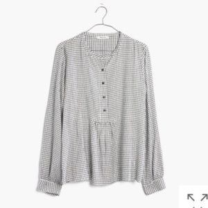 Madewell popover top in black white plaid Size S